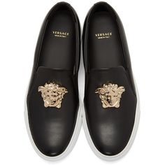 Versace Black Medusa Slip-On Sneakers (34,855 PHP) ❤ liked on Polyvore featuring shoes, sneakers, versace sneakers, versace shoes, pull-on sneakers, black rubber sole shoes and black slip-on sneakers