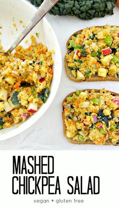 Vegan and Gluten Free Mashed Chickpea Salad. A deliciously easy & healthy plant based lunch with chopped veggies, apples, kale and more. Crunchy and savory.
