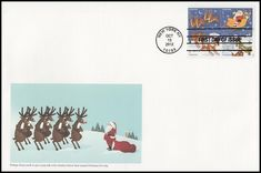 Block Includes: 4712 Reindeer in Flight and Moon / 4713 Santa Claus and Sleigh / 4714 Reindeer Over Roof and 4715 Snow-Covered Buildings. Envelope measures 6 x 9 and have description of the stamp subject printed on the back. IS IN MINT, UNADDRESSED CONDITION.