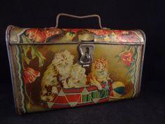 Ancienne boite en fer petite valise de voyage chatons fleurs ballon 1900-1910 | eBay