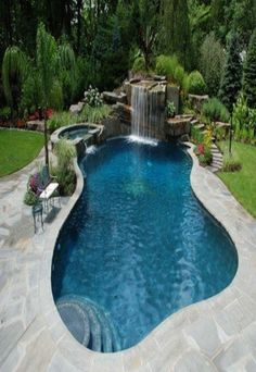 Inground Pool Designs, Small Inground Pool, Small Backyard Pools, Backyard Pool Designs, Swimming Pool Designs, Backyard Waterfalls, Pools Inground, Backyard Beach, Diy Pool