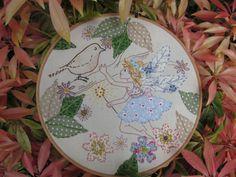 Embroidery hoop art... A little bird tells by thecockeyedartymiss, £39.00