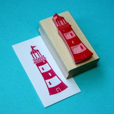 Lighthouse Hand Carved Rubber Stamp by Skull and Cross Buns