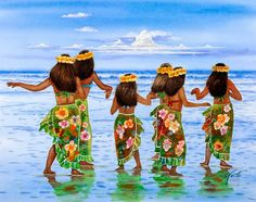 Hula Dancers Hawaii Art Print by John YATO. All prints are professionally printed, packaged, and shipped within 3 - 4 business days. Hawaiian Girls, Hawaiian Dancers, Hawaiian Decor, Hawaiian Dresses, Vintage Hawaiian, Polynesian Art, Polynesian Culture, Hawaii Painting, Painting Canvas