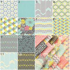 Aphrodite in Aqua (Baby Bedding Crib Set) Aqua, Citron, Yellow, Gray, Arrows, Chevron, Honeycomb, Geometric Crib Set Nursery Bedding