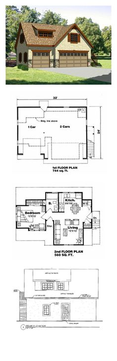 Garage Apartment Plan 94342 | Total Living Area: 560 sq. ft., 1 bedroom and 1 bathroom. #carriagehouse