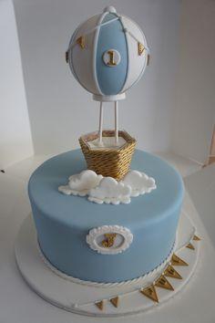Tower top cake designed for Jude's birthday. Baby Birthday Cakes, Baby Boy 1st Birthday, Gateau Baby Shower, Baby Shower Cakes, Hot Air Balloon Cake, Elephant Baby Shower Cake, Dessert Decoration, Baby Shower Balloons, Cake Toppings