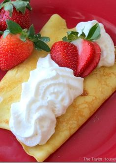 Strawberry Shortcake Crepes recipe. Great for breakfast in bed for your Valentine!