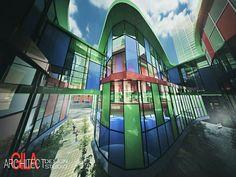 3 colour combine on shopping center #arsitekgila #3dmax #vray #highrisebuilding