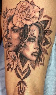 <<Check out more Gemini tattoos #tattoomenow #tattooideas #tattoodesigns #tattoos #gemini #zodiac Twin Tattoos, Forarm Tattoos, Mom Tattoos, Cute Tattoos, Body Art Tattoos, Badass Sleeve Tattoos, Skull Sleeve Tattoos, Gemini Zodiac Tattoos, Gemini Tattoo Designs