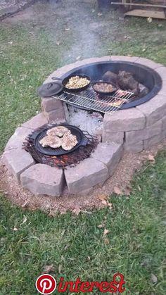 35 backyard landscaping ideas on a budget 21 - Diy garden decor, Backyard fire, Backyard . Cheap Fire Pit, Diy Fire Pit, Fire Pit Backyard, Backyard Patio, Backyard Landscaping, Backyard Seating, Backyard Fireplace, Outdoor Fireplaces, Fire Pit Grill