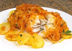 Bacalao a la portuguesa, receta paso a paso Bacalao Recipe, Cod Fillet Recipes, Cooking Recipes, Healthy Recipes, Cooking Time, Recipe For 4, Sin Gluten, Cauliflower, Risotto