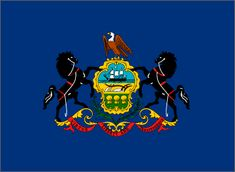 (Original 13 Colonies Flag - Pennsylvania). Pennsylvania's State Flag is more of a square than a rectangle.  It is composed of a blue field on which the State Coat of Arms is embroidered.  Draft horses are on either side of the coat of arms and the American eagle rests on the top.  The scroll at the bottom reads Virtue, Liberty and Independence.