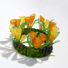 Quest Crown in lost wax kiln cast crystal by Evelyn Dunstan