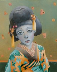 ARTFINDER: `Little Dreaming Geisha` by Sandra Gotautaite - Oil painting on canvas inspired by secret lives of geisha.