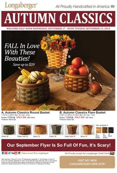 Beautiful fall baskets available from Wednesday, Sept. 17, through Tuesday, Sept. 23. Click on https://us.longaberger.com/pls/ngs/ngs_inpower.public_party?fv_party_nbr=35492&fv_member_nbr=23374 to place your order! Decorating made easy, courtesy of Longaberger!