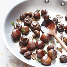 The secret to mushrooms that are beautifully browned and not watery is taking a hands-off approach. Stirring them as they caramelize releases the mushrooms' liquid and causes them to steam, so leaving them alone is the way to go.