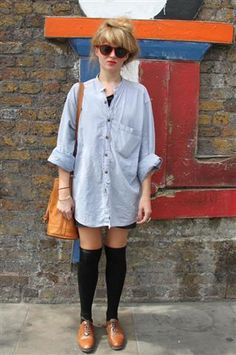 """London Street Fashion.  What a great, """"I just got out of bed"""" look."""