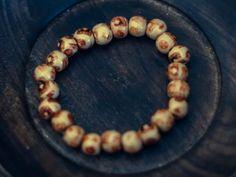 Patterned Beige Wood Bead Bracelet by WoodYouWear on Etsy, $5.00