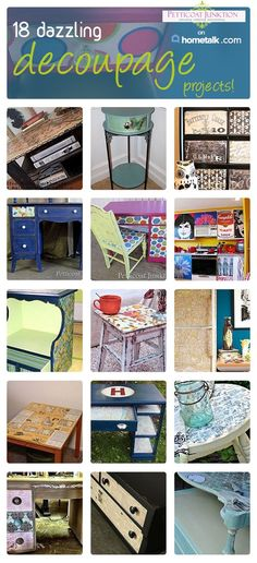 DIY 18 Beautiful Budget Decoupaged Furniture projects ! Your options using decoupage are endless ! As you will see in these tutorials !