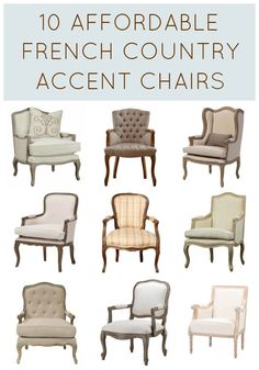 Affordable French Country Accent Chairs If You Love French Chairs, Youll Love This Shopping Guide With Affordable French Country Accent Chairs. It Includes Inexpensive French Style Armchairs And Other French Furniture. French Country Chairs, French Style Chairs, Modern French Country, French Country Furniture, French Country Bedrooms, French Country Living Room, French Country Farmhouse, French Home Decor, French Country Decorating
