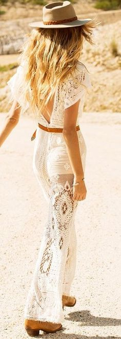 #summer #spellandthegypsycollective #outfits | White Crochet Jumpsuit