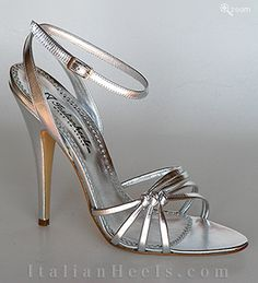 ItalianHeels.com: sandals: Laura 1718 - 4 1/2'  stiletto Silver Sandals