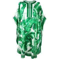 Dolce & Gabbana banana leaf print kaftan dress ($1,760) ❤ liked on Polyvore featuring dresses, green, short dresses, short kaftan, green silk dress, short kaftan dress and sleeved dresses