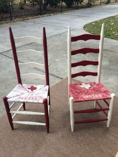 Matching Aggie Chairs Hand Painted and Lettered with Annie Sloan Chalk Paint $125 each or $200 for set