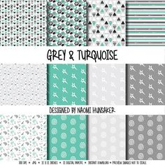 Modern Neuroscience Paper Pack   Gray & Turquoise   Instant Download by handmadephd. Explore more products on http://handmadephd.etsy.com