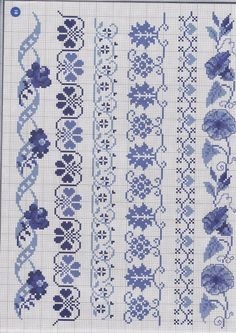 Blue borders in cross stitch Cross Stitch Bookmarks, Mini Cross Stitch, Cross Stitch Borders, Cross Stitch Charts, Cross Stitch Designs, Cross Stitching, Cross Stitch Embroidery, Cross Stitch Patterns, Fair Isle Chart