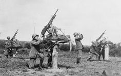 Q 57521  A battery of light machine guns on anti-aircraft mounting in action.