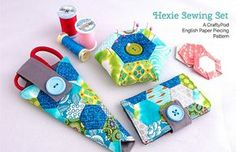 Hexie Sewing Set English Paper Piecing Pattern from Crafty Pod Paper Piecing Patterns, Pattern Paper, Sewing Patterns, Hexagon Pattern, Hexagon Quilt, Amy Butler, Quilting Projects, Sewing Projects, Sewing Kits