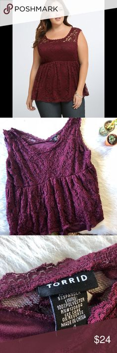 Torrid Maroon Lace Blouse This top is in excellent condition!  Size 4X Pit to pit is approx 24.5 inches  Length is approx 27 inches  All measurements are from flat lays  Smoke and pet free home! No flaws like stains or holes! No modeling No trades! OFFERS WELCOME!😊 torrid Tops Blouses