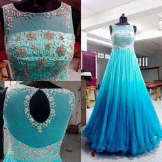 FatimaBi Bridal Blue Anarkali Gown Hand embroidery Floor Length Plus size Dress Anarkali Gown, Red Lehenga, Patiala Salwar, Lehenga Choli, Lehenga Style, Indian Wedding Gowns, Indian Gowns Dresses, Pink Gowns, Birthday Dress Women