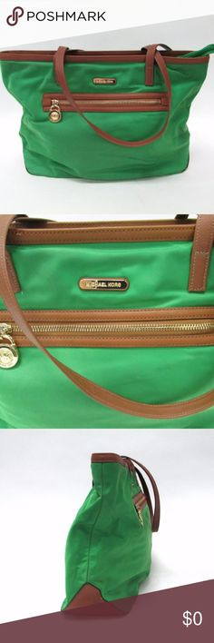 Michael Kors Green Tote large In great condition Michael Kors Green/brown/gold large tote  Measurements (inches):- Length: 16 Width: 5 Height: 12 Strap Drop: 10 Michael Kors Bags Totes