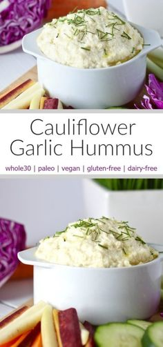 This creamy bean-free Cauliflower Garlic Hummus makes for the perfect and oh so tasty low-carb veggie dip. A whole30, paleo and vegan friendly recipe.   www.therealfoodrds.com