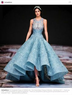 (Inside Manila) Dubai-based Filipino fashion designer Michael Cinco opened the Fashion Forward Dubai with a presentation of a winter collection called Prom Gowns Vintage, Couture Dresses, Fashion Dresses, Evening Dresses, Prom Dresses, Wedding Dresses, Light Blue Dresses, Beautiful Gowns, Dream Dress