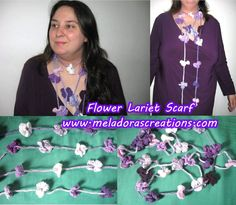 Crochet Flower Necklace Scarf  - Left Handed Crochet Tutorial
