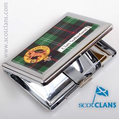Sutherland Clan Crest and Tartan Cigarette Case. Free worldwide shipping available