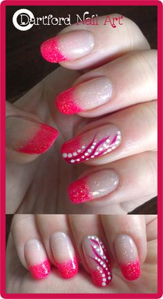 Pink French mani with some glitter!