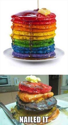 Fail on rainbow pancakes Pin Fails, Funny Fails, Pinterest Fails, Pinterest Recipes, Pinterest Projects, Pinterest Cake, Pinterest Food, Ricky Martin, Baking Fails
