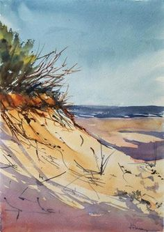 """Dunes II"" - Original Fine Art for Sale - © Fernando Pena Beach Watercolor, Watercolor Landscape, Watercolor And Ink, Watercolour Painting, Landscape Art, Landscape Paintings, Watercolours, Art Aquarelle, Beach Scenes"