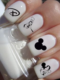 Black and White Disney Character Nail Decals by DulceGems on Etsy, $3.80