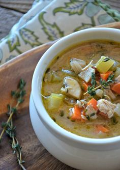 Turkey & Wild Rice Soup | mountainmamacooks.com Turkey Rice Soup, Homemade Turkey Soup, Turkey Dishes, Soup And Sandwich, Soup Recipes, Cooking Recipes, Rice Recipes, Yummy Recipes, Chicken Recipes