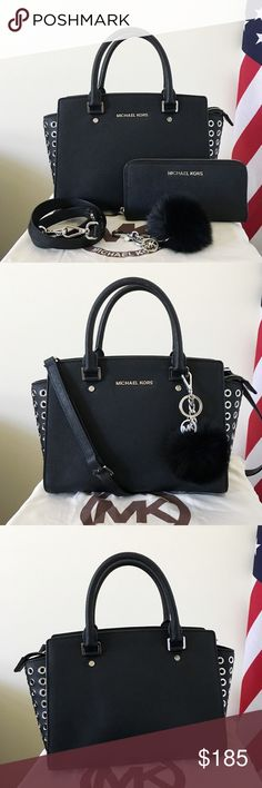 Michael Kors Selma Grommet Medium With Wallet A beautiful set! Goes well with everything! Black Saffiano leather silver detailing. Light used. Authentic.  The black Grommet Selma is in medium size, has a long strap. Shows minor wear on the hardware, other than that in really good condition.  Wallet is in really good condition.  Measurement: 12*8*5 inch   Dust bag and the Michael Kors key chain are included. Michael Kors Bags Satchels