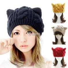 Hot Women/'s Winter Warm Hat Cute Cat Ear Style Skull Hat Black Ski Hats
