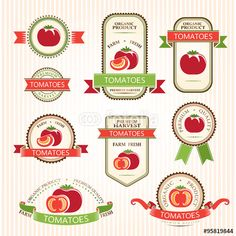 Vector: Tomatoes. Vegetables labels collection.