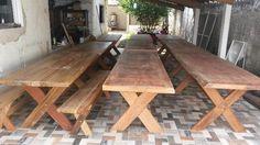 Mesas de pranchas com balcos