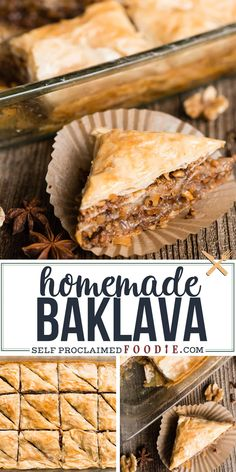 Baklava is a rich, decadent dessert recipe made of layers of flaky filo dough, filled with chopped roasted walnuts, and sweetened with a sticky honey sauce. Desserts {The BEST} Homemade Baklava Recipe Brownie Desserts, Greek Desserts, Easy Desserts, Greek Appetizers, Greek Sweets, Walnut Recipes, Honey Recipes, Baking Recipes, Recipes With Walnuts